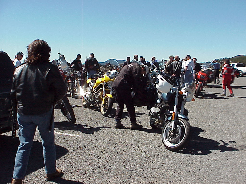 Bikes/riders at Dee Wright Observatory